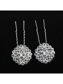 Round Rhinestone Wedding Hair Pins (2 PCS Set)