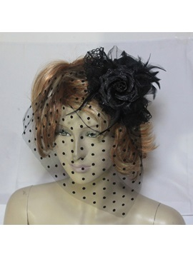 Delicate Black Net with Feather Wedding Bridal Hats