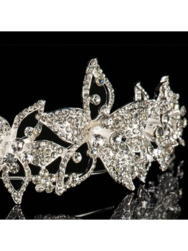 Graceful Flowers Rhinestone Wedding Tiara