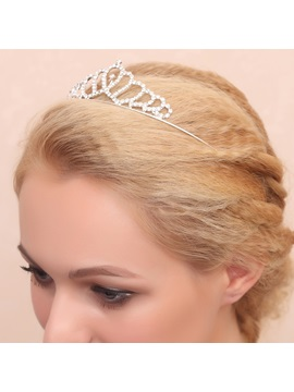 Heart Shaped Rhinestone Alloy Wedding Tiara