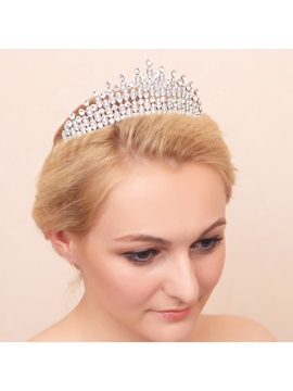 Classic Shiny Rhinestone Alloy Wedding Crown / Tiara