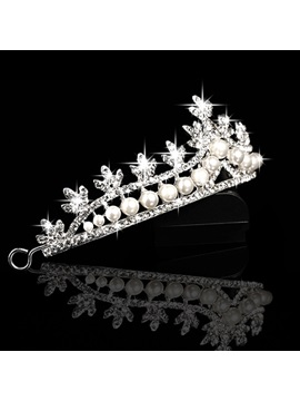 Unique Pearls and Rhinestone Embellishing Wedding Tiara