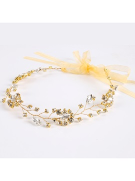 Golden Plated Crystal Inlaid Wedding Hair Band