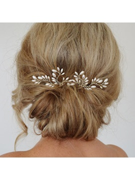 White Pearls Embellished Alloy Wedding Hairpin