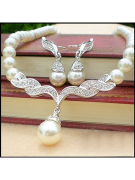 Graceful Pearl with Alloy Connector Wedding Bridal Jewelry Set