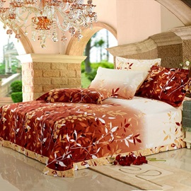 Nature-Autumn Fallen leaves Cotton 4-Piece Full/Queen/King Size Duvet Cover (Reactive Print)