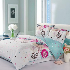 Flower White Color Cotton Full/Queen/King Duvet Cover