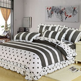 Lady Dream-Stripe Cotton 4-Piece Queen Size Duvet Covers with Laciness