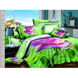 Unique Pattern and Leaves Printed 4 Piece Cotton Bedding Sets