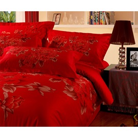 Cool Red Fine Flowers Cool Selling 4 Piece Bedding Sets