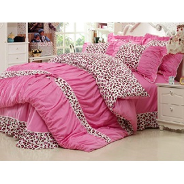 New Popular Pink Leopard Pattern 100% Cotton 4-Piece Teen Bedding Sets