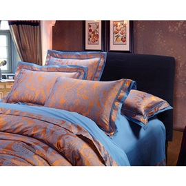 Soft Two-Tone Jacquard Print Cotton 4-Piece Bedding Sets