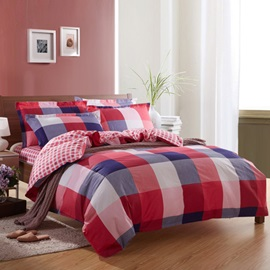 Modern Eye-catching Wide Plaid Print 100% Cotton 4 Piece Bedding Sets