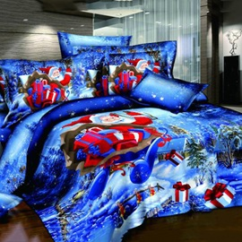 Christmas Gift Santa Claus Reactive Print 4 Pieces 3D Bedding Sets