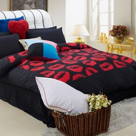 Personalized Lips Printed Sueded 4-Piece Bedding Set