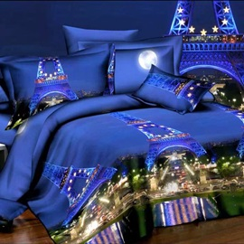 Paris Night Scene Printed 4-Piece Bedding Sets