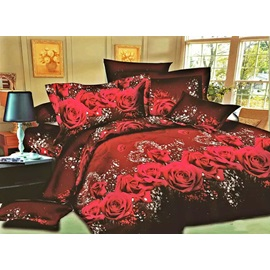 Red Rose Printed 4 Piece Bedding Sets
