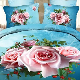 Pink Rose Printed 4 Piece Bedding Sets