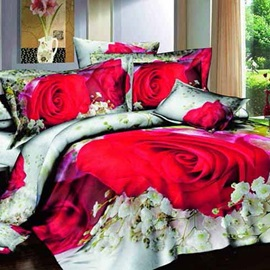 Beautiful Rose Printed 4 Piece Bedding Sets