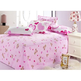 Lovely Pink Heart Shape 100% Cotton Active Printing 4 Piece Comforter Bedding Sets