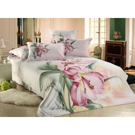 Exquisite Large Flowers 100% Cotton Active Printing 4 Piece Comforter Bedding Sets