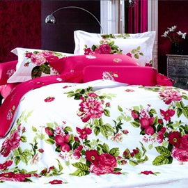 Red Peony with Green Leaves 4 Piece Bedding Sets