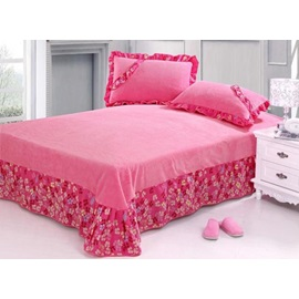 Boutique Pink Floral 4 Piece Coral Fleece Comforter Sets with Active Printing