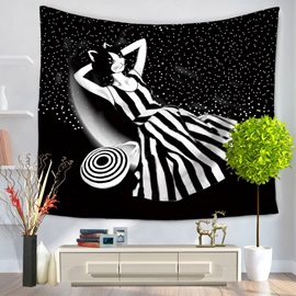 Kitty Cat Lady Lying on Milky Way Pattern Decorative Hanging Wall Tapestry