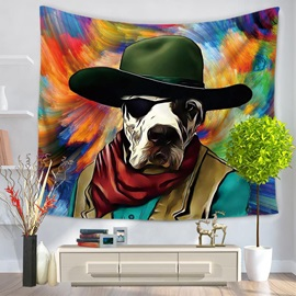 Oil Painting Cowboy Dog Prints Colorful Hanging Wall Tapestry
