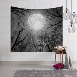 Big Moon Sparkle above Magical Woods Decorative Hanging Wall Tapestry