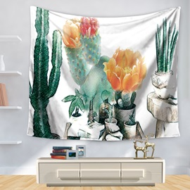 Watercolor Garden Hot South Desert Plant Cactus Pattern Decorative Hanging Wall Tapestry