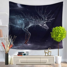 Melting Transparent Wapiti Under the Moonlight Decorative Hanging Wall Tapestry