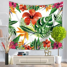 Colorful Flower and Palm Leaves Natural Style Decorative Hanging Wall Tapestry