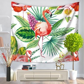 Flamingo and Palm Leaves Flower Pattern Decorative Hanging Wall Tapestry