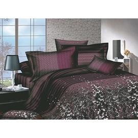 Brown Florals Printed 4 Piece Comforter Sets with 100 Percent Cotton