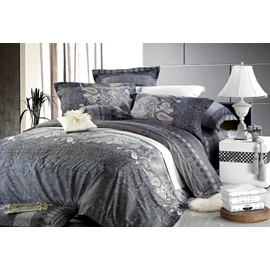 Unique Grey 4 Piece European Pattern Cotton Bedding Sets with Printing