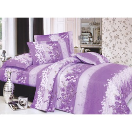 Beauty Purple Flowers and Stripes Printed 4 Piece Cotton Bedding Sets