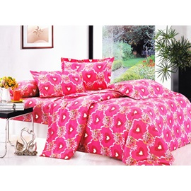 Candied Ress Heat-shaped Pattern 4 Piece Cotton Bedding Sets