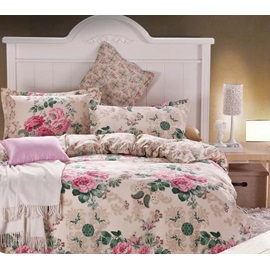 New Super Cheap Top Quality Beautiful Flowers Print 100% Cotton 4-Piece Bedding Sets