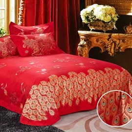 Dazzling Festival Peony and Phoenix Printed Red 100% Cotton Wedding 4-Piece Bedding Sets