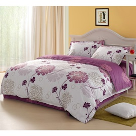 Glorious Purple Dandelion Flowers Print 100% Cotton 4 Piece Bedding Sets