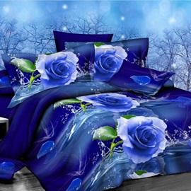 Romantic Blue Rose Printed 4-Piece Bedding Sets