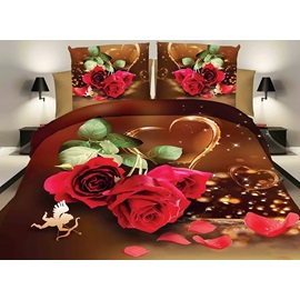 Love Rose Image 4 Piece Bedding Sets