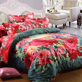 Wannaus Red Peonies Prints Cotton 4-Piece Full Size Duvet Cover Sets