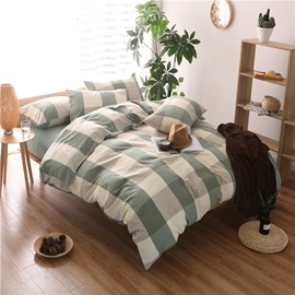 Wannaus Green Plaid Prints Cotton 4-Piece Duvet Cover Sets