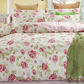 Wannaus Pink Floral Prints Pastoral Cotton 4-Piece Duvet Cover Sets
