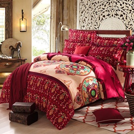 Wannaus Bohemian Prints Cotton Full Size 4-Piece Burgundy Duvet Cover Sets