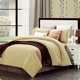 Wannaus Solid Beige Luxury Cotton 4-Piece Duvet Cover Sets
