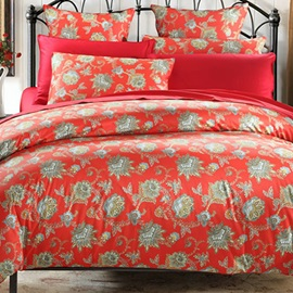 Wannaus Elegant Arabesque Pattern Cotton 4-Piece Red Duvet Cover Sets