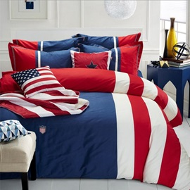 Wannaus Blue Red Stripes Print 4-Piece Cotton Queen Size Duvet Cover Sets